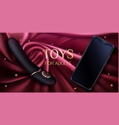 sex toys dildo and smartphone for adults banner vector image