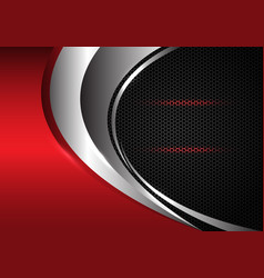 Silver curve and red metallic on dark grey hexagon vector