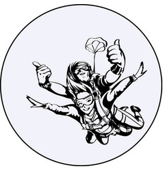 Skydiver man and woman vector