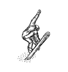 snowboarder in flight sketch hand vector image