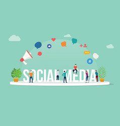 social media concept with team people working vector image