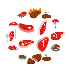 steak icons set isometric 3d style vector image