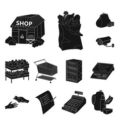 Supermarket and equipment black icons in set vector