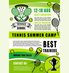 tennis sport summer camp training vector image