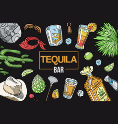 tequila bar banner glass with vector image
