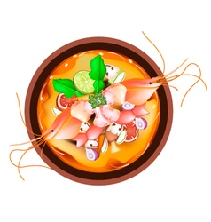 Tom Yum Goong or Thai Spicy and Sour Soup vector image