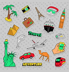 travel and vacations badges patches and stickers vector image