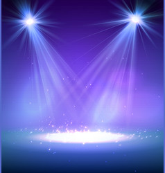 Two spotlight on stage with smoke and light vector