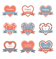 valentine day heart badgelabelribbonand vector image