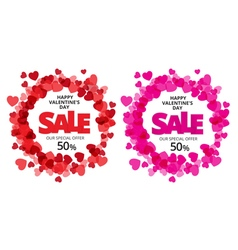 Valentine love label with red and pink heart vector image