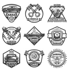 Vintage car repair service labels set vector