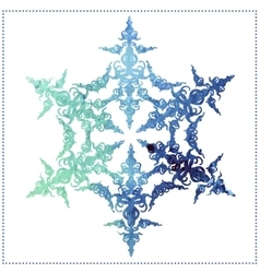 Watercolor beautiful snowflake on a white vector