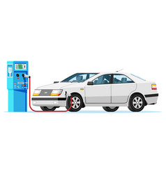 white electric car charging at charger station vector image