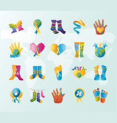 World down syndrome day support awareness icons vector