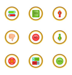yes and no button icons set cartoon style vector image
