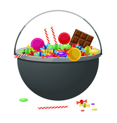 a cauldron with different candy and sweets vector image