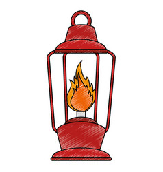 camping lamp flame vector image