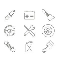monochrome set with line car service icons vector image vector image