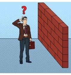Pop Art Businessman in Front of Brick Wall vector image