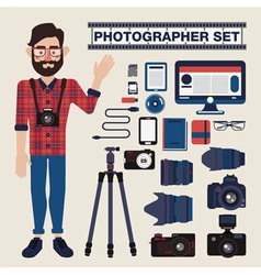 Professional Photographer Set Kit with Cameras vector image