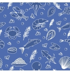 Seafood seamless pattern Fish food endless vector image vector image