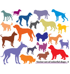 set of colorful dogs silhouettes-4 vector image