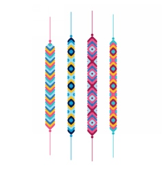 Set of multicolor friendship hippy bracelets vector image vector image