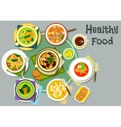 Soup dishes for healthy lunch menu icon vector image vector image