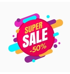 Super sale banner colorful and playful design vector image