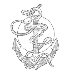 anchor and rope coloring book vector image vector image