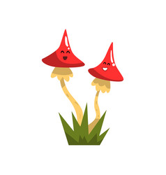 cute funny toadstool mushroom characters with vector image vector image