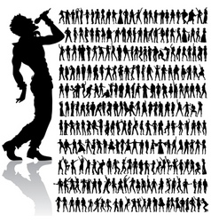 dancing and singing people big set vector image