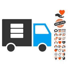 data transfer van icon with dating bonus vector image