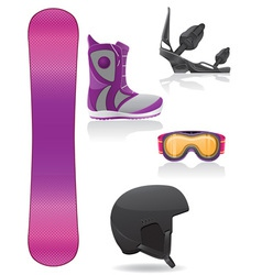 set icons equipment for snowboarding vector image vector image