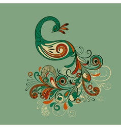 stylized peacock with detailed tail vector image