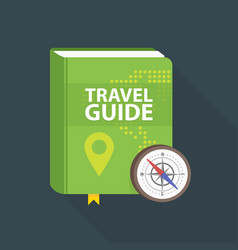 Travel guide book icon world map and pin in cover vector