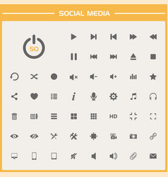 50 social media icons on simple presentation vector image