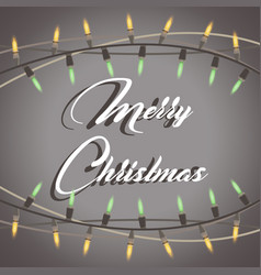 christmas lights garland string background card vector image