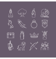 Fairy tale thin line icon set vector image vector image