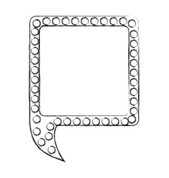 monochrome sketch of square speech with tail and vector image vector image