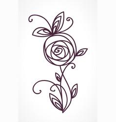 rose stylized flower symbol vector image vector image