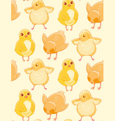 Seamless pattern with cute hand-drawn chicken on a vector