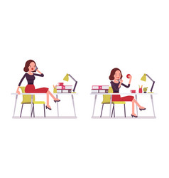 set of young secretary sitting at on the office vector image