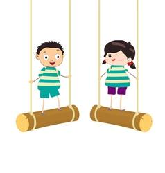 Two kidsl swinging on swings vector image vector image