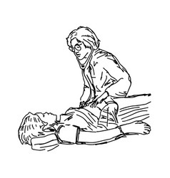 female doctor checking a female patient medical vector image