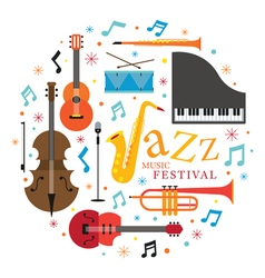 Jazz Music Instruments Objects Label vector image