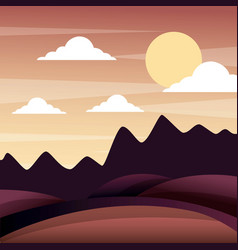 Landscape sunset in the mountains hills sky vector