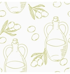 Outline seamless pattern with hand drawn olive oil vector image