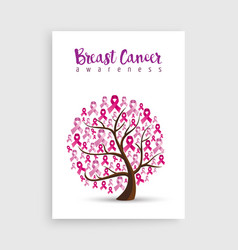 pink ribbon tree for breast cancer awareness vector image