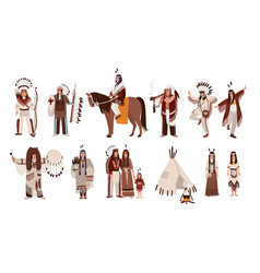 set of indians in traditional costumes native vector image vector image